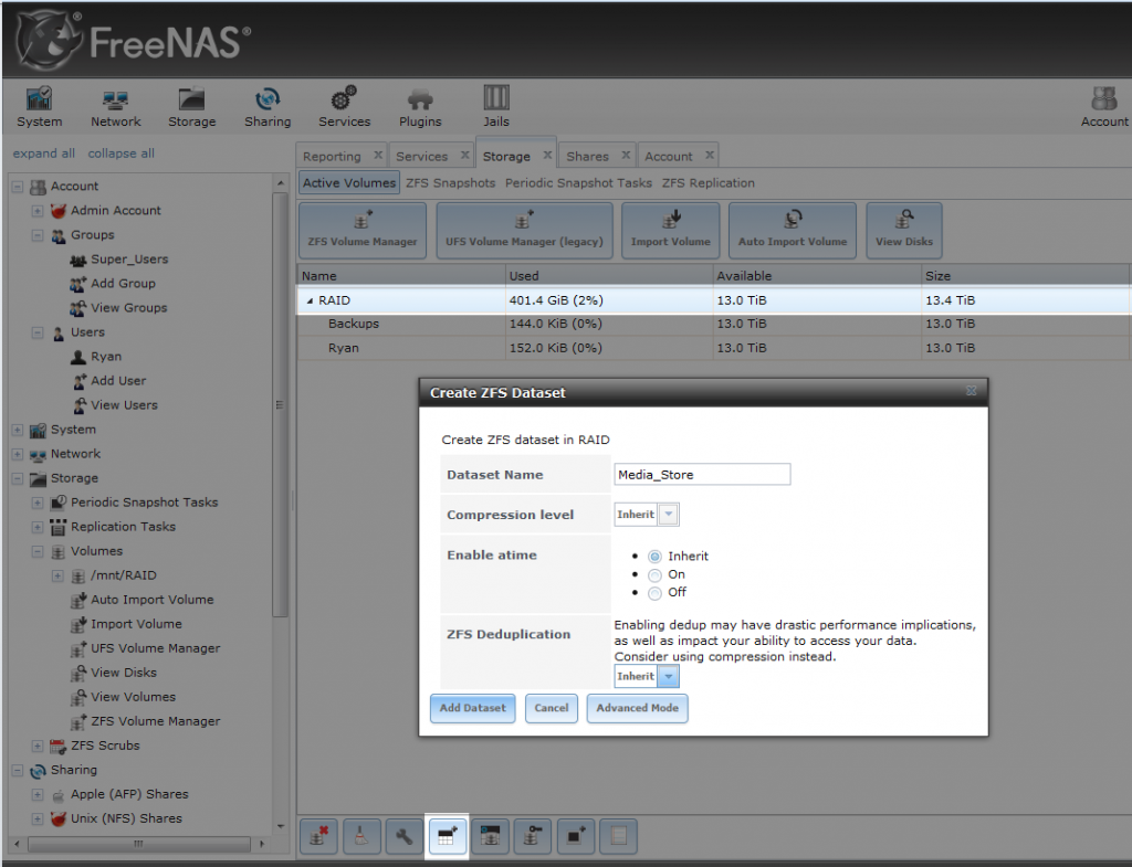 FreeNAS_Creating_DataSet