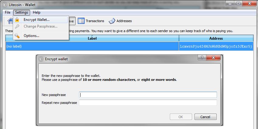 LiteCoinQT_EncryptWallet