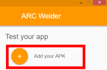 Adding an apk file in arc welder screenshot.