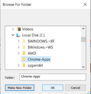 Screenshot of the choose a folder window for arc welder.