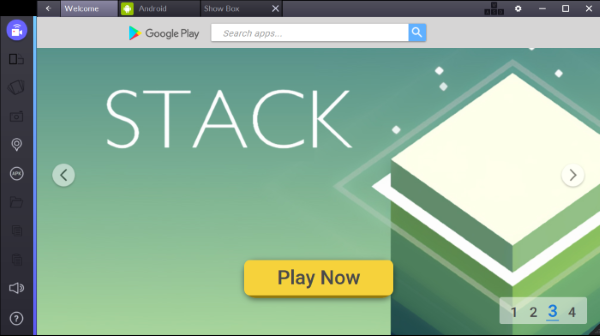 Screenshot of Bluestacks welcome screen.