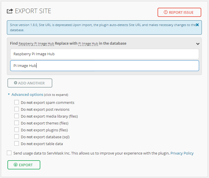 All-in-one-wp-migration-export-screen