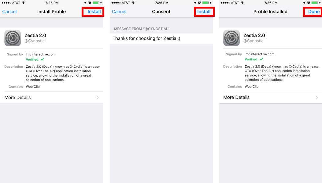 Screenshots of how to install zestia on iPhone.