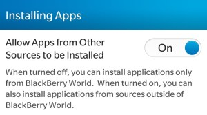 Blackberry: Enable applications from other sources to be installed option