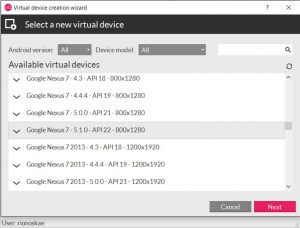 Select android device and os version to emulate