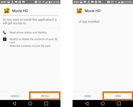 Install screen for Movie HD / HD Cinema