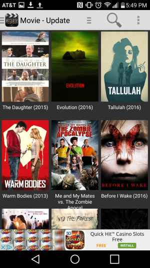 Megabox HD movies app home screen