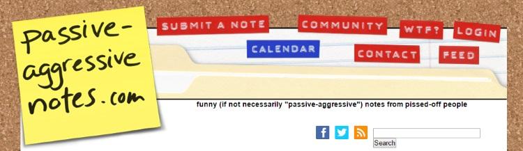 Passiveaggressivenotes.com screenshot